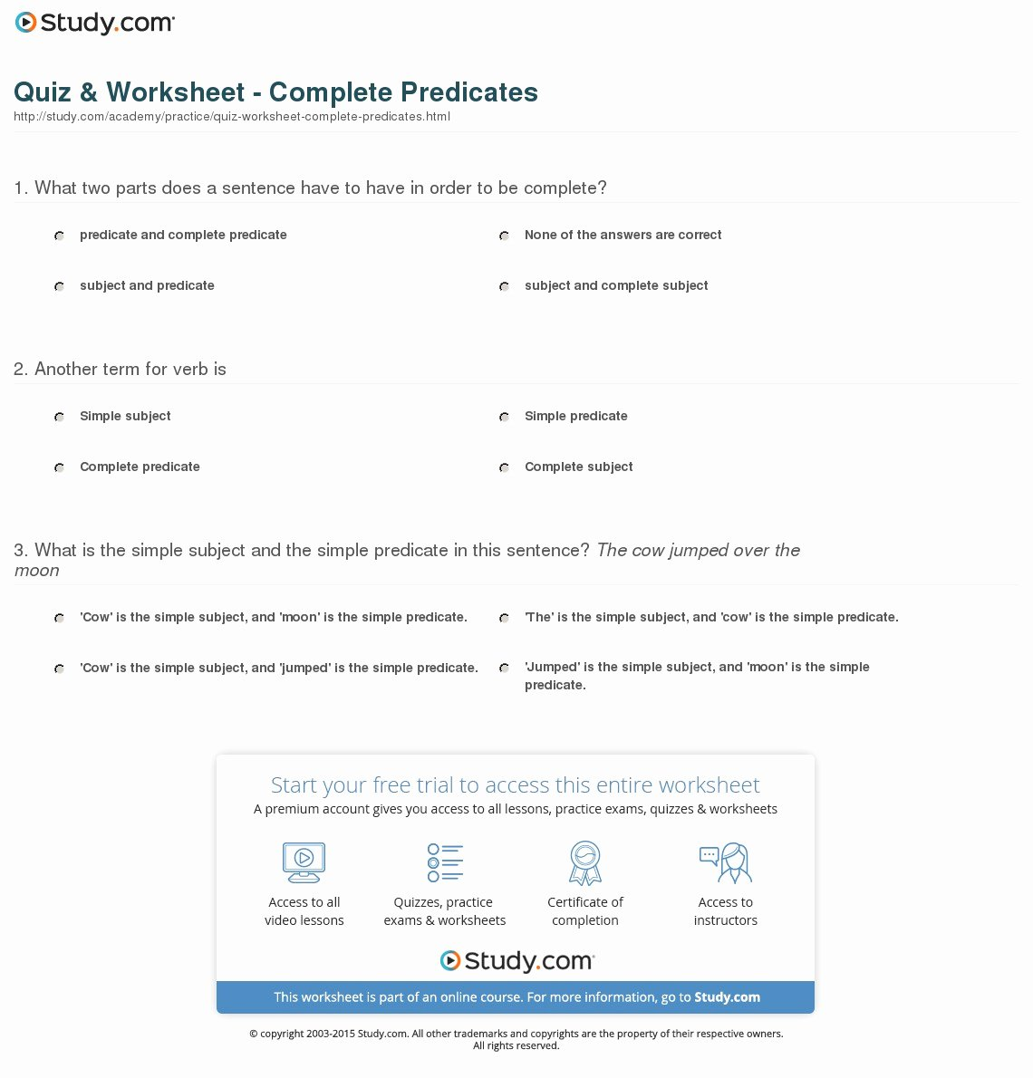 Complete Subject and Predicate Worksheet Best Of Quiz & Worksheet Plete Predicates