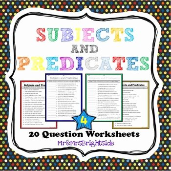Complete Subject and Predicate Worksheet Lovely Subjects and Predicates In A Sentence by Mr and Mrs