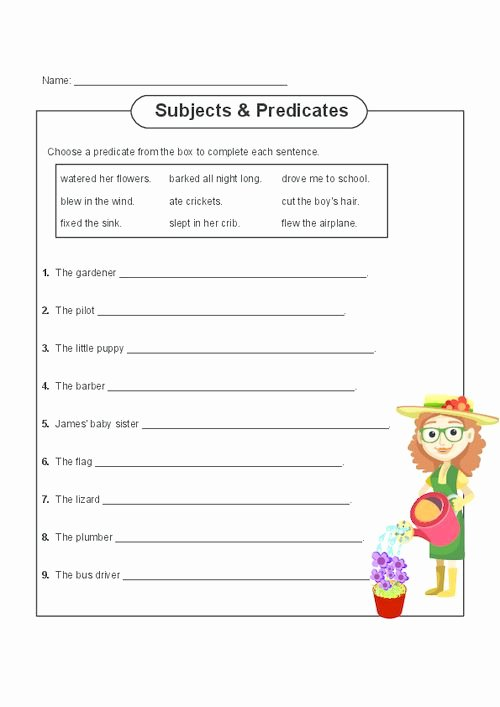 Complete Subject and Predicate Worksheet Luxury Subject and Predicate Practice Grammar