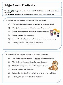 Complete Subject and Predicate Worksheet New Grade 5 Subject and Predicate Worksheets by Teach to Love