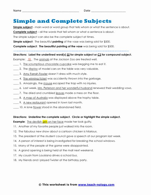Complete Subject and Predicate Worksheet New Plete Subject and Predicate Worksheets