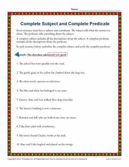 Complete Subject and Predicate Worksheet Unique Plete Subject and Plete Predicate