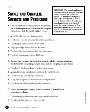 Complete Subject and Predicate Worksheet Unique Simple and Plete Subjects and Predicates