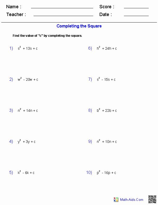 Complete the Square Worksheet Beautiful Algebra 1 Worksheets
