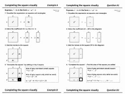Complete the Square Worksheet Beautiful Pleting the Square Worksheet Visual Method Plete
