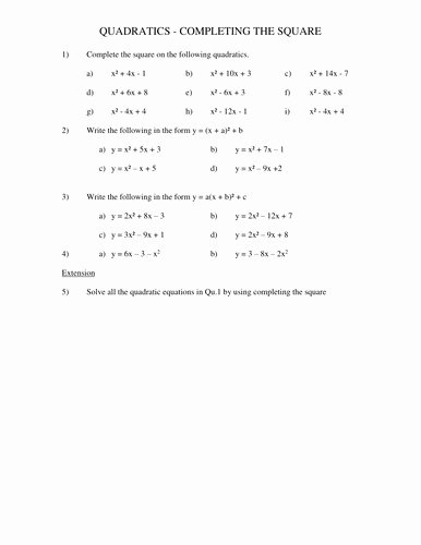 Complete the Square Worksheet Best Of Plete the Square Worksheet