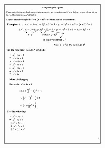 Complete the Square Worksheet Best Of Pleting the Square Worksheet