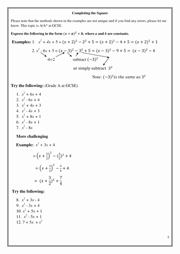 Complete the Square Worksheet Elegant Pleting the Square Gcse A A Grade Also 4 C1 by