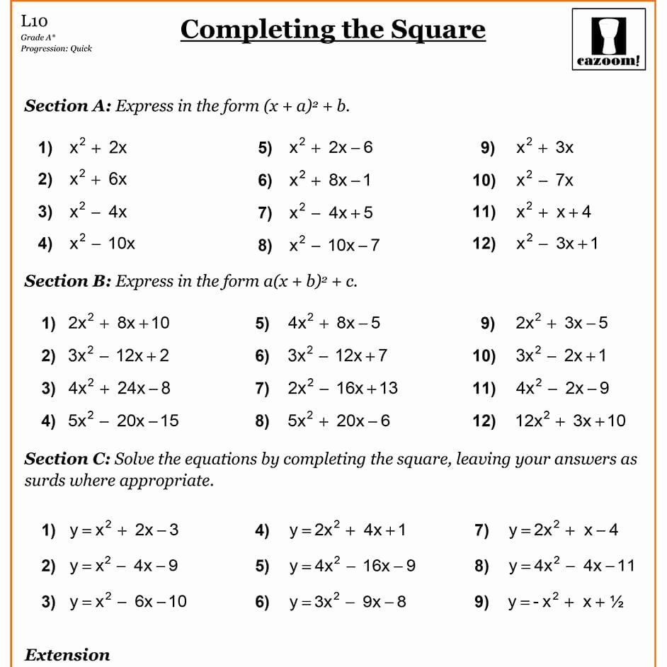 Complete the Square Worksheet Elegant Pleting the Square