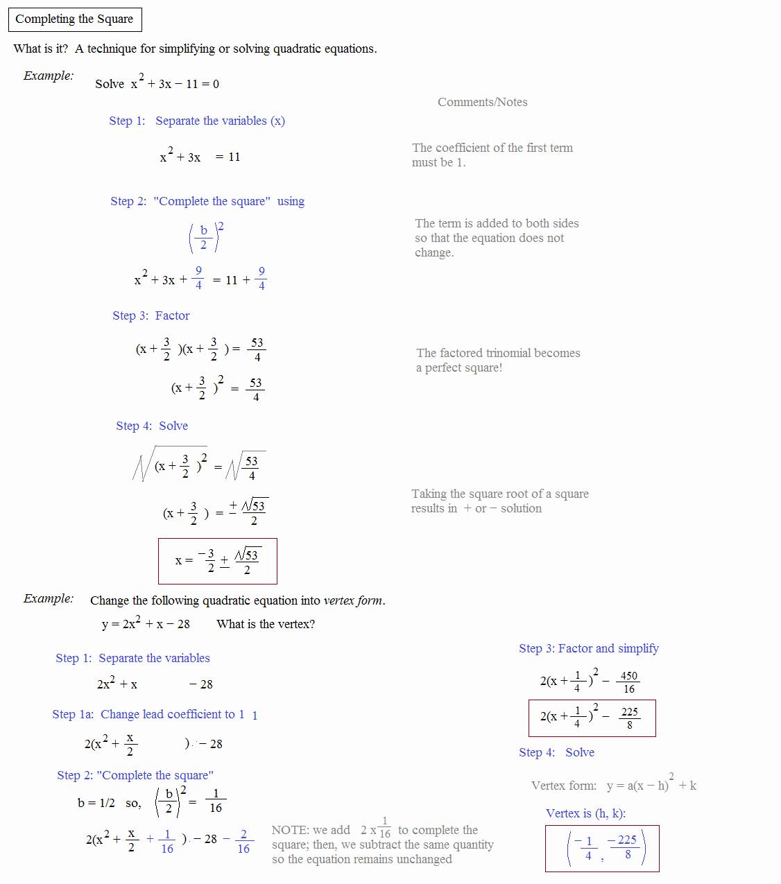 Complete the Square Worksheet Fresh Math Plane Pleting the Square & Quadratic formula