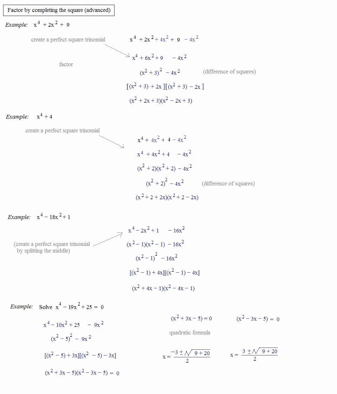 Complete the Square Worksheet Inspirational Math Plane Pleting the Square & Quadratic formula