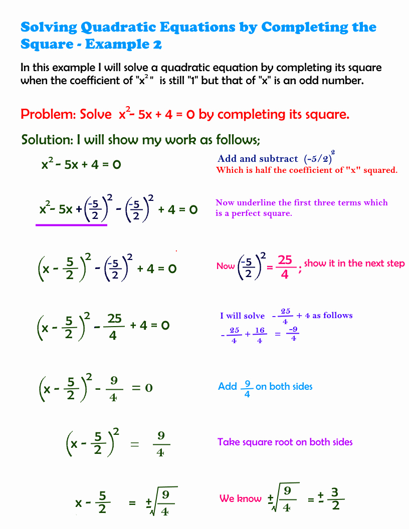 Completing the Square Practice Worksheet Beautiful 9 4 solving Quadratic Equations by Pleting the Square