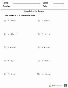 Completing the Square Practice Worksheet Beautiful solving Quadratic Equations by Factoring