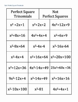 Completing the Square Practice Worksheet Best Of Pleting the Square Perfect Square Trinomial