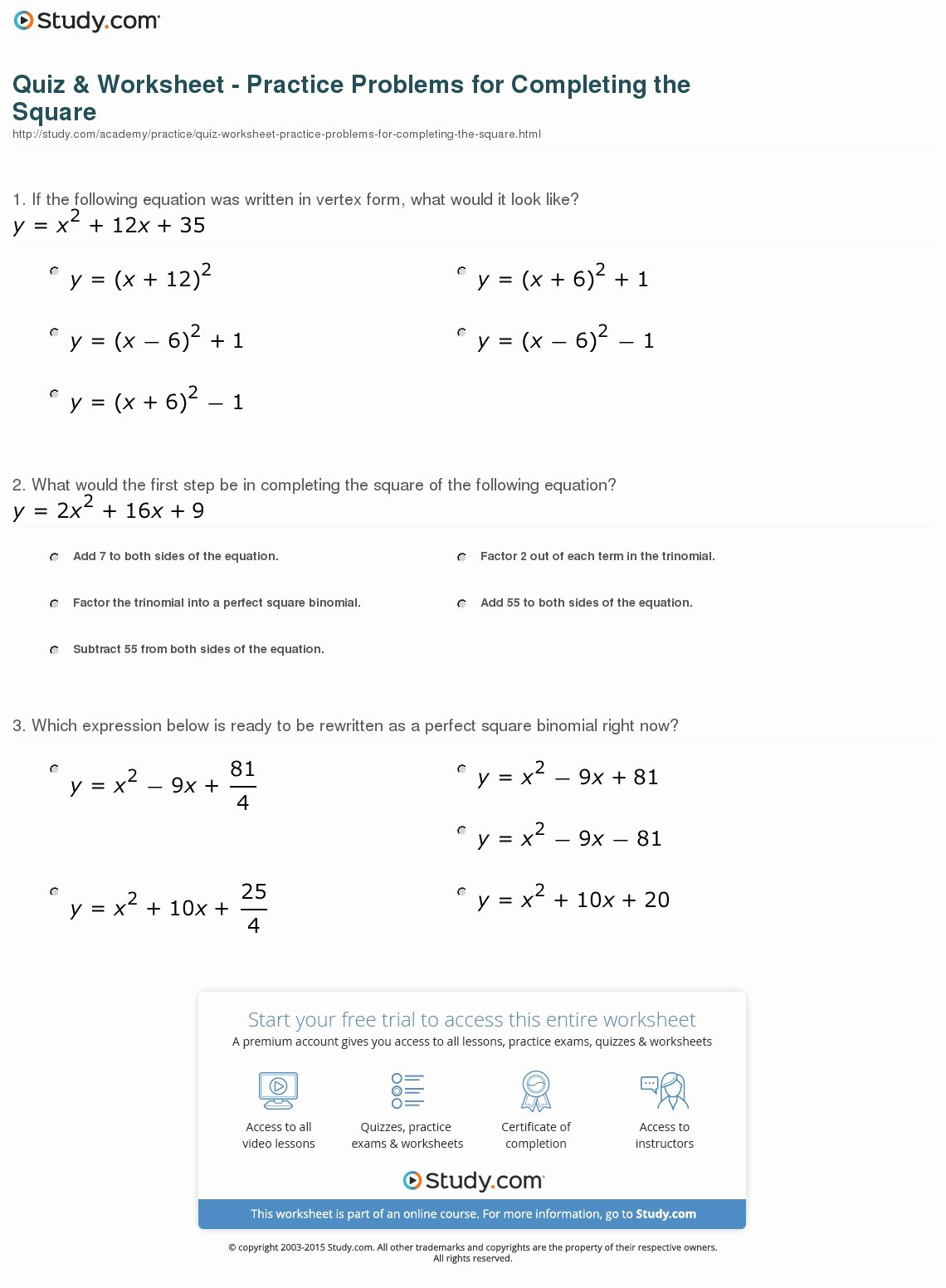 Completing the Square Practice Worksheet Fresh Quiz & Worksheet Practice Problems for Pleting the
