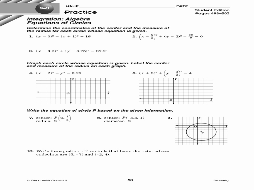Completing the Square Practice Worksheet Luxury Graphing Circles by Pleting the Square Worksheet