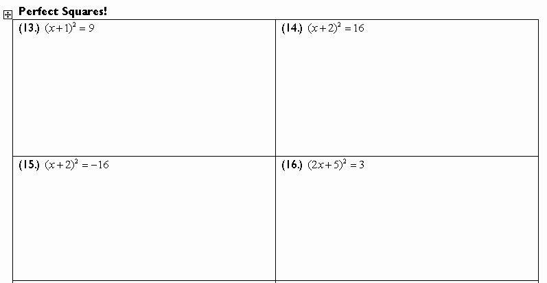 Completing the Square Practice Worksheet New Pleting the Square