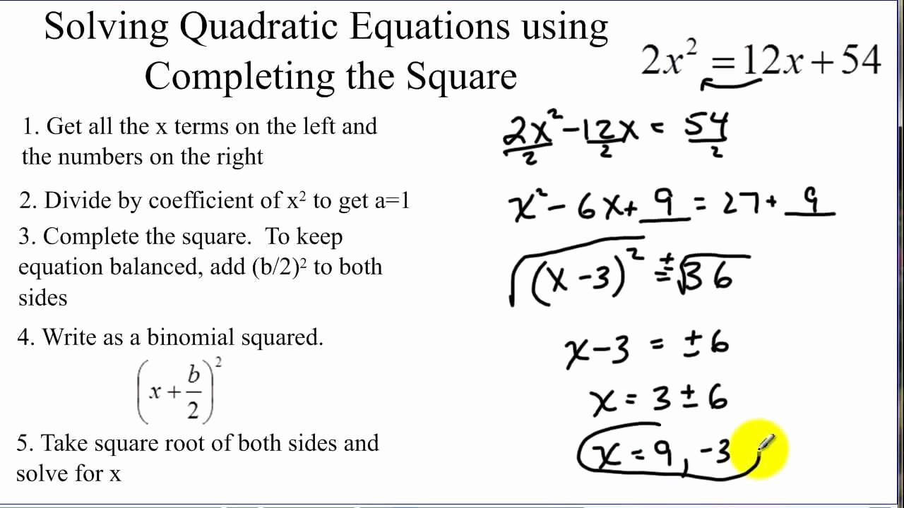 Completing the Square Practice Worksheet Unique solving Quadratic Equations by Pleting the Square