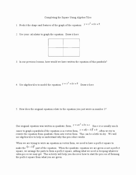 Completing the Square Worksheet Awesome Pleting the Square Using Algebra Tiles Worksheet