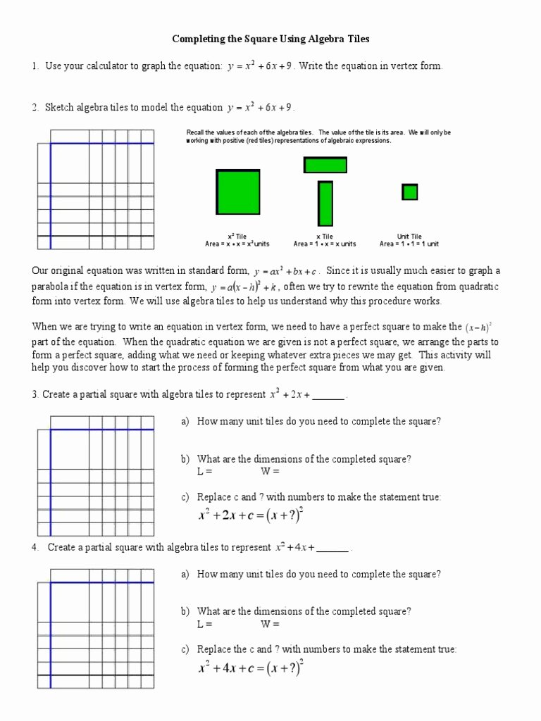 Completing the Square Worksheet Beautiful Plete the Square Worksheet Mathematical Analysis