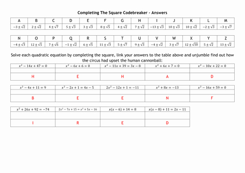 Completing the Square Worksheet Beautiful Pleting the Square Codebreaker by Alutwyche