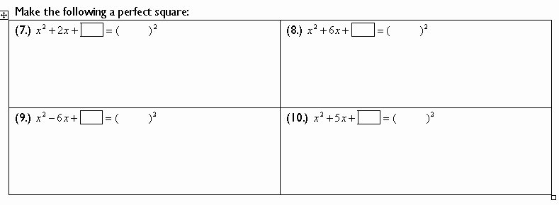 Completing the Square Worksheet Best Of Pleting the Square
