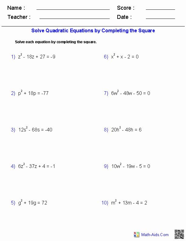 Completing the Square Worksheet Elegant Algebra 1 Worksheets