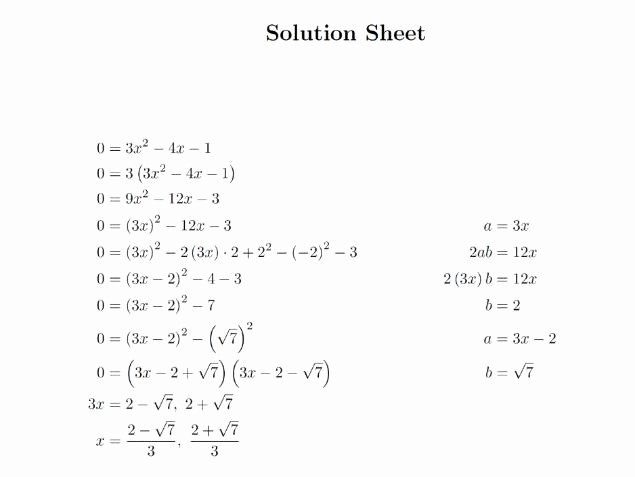 Completing the Square Worksheet Elegant Quadratic Equation Questions by Pleting the Square