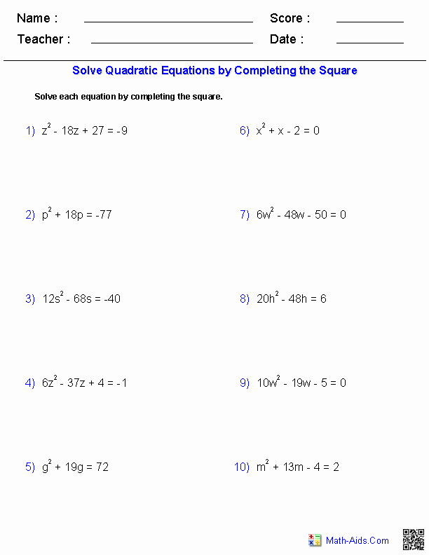 Completing the Square Worksheet Fresh Algebra 1 Worksheets