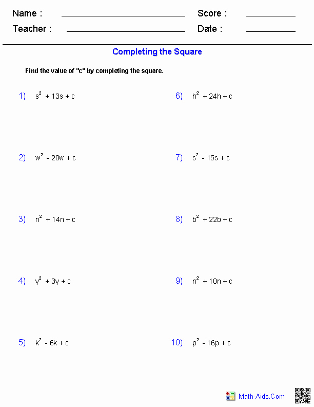 Completing the Square Worksheet Lovely Algebra 1 Worksheets