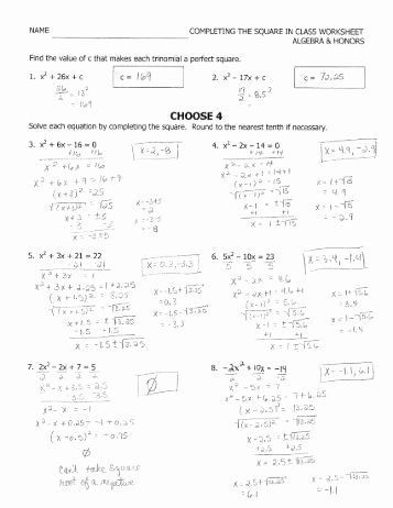 Completing the Square Worksheet Lovely Honors Algebra 2 M328 Name Chapter 4 1 4 6 Worksheet B