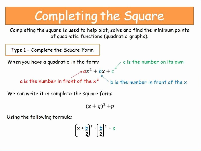 Completing the Square Worksheet Lovely solving Quadratic Equations by Pleting the Square