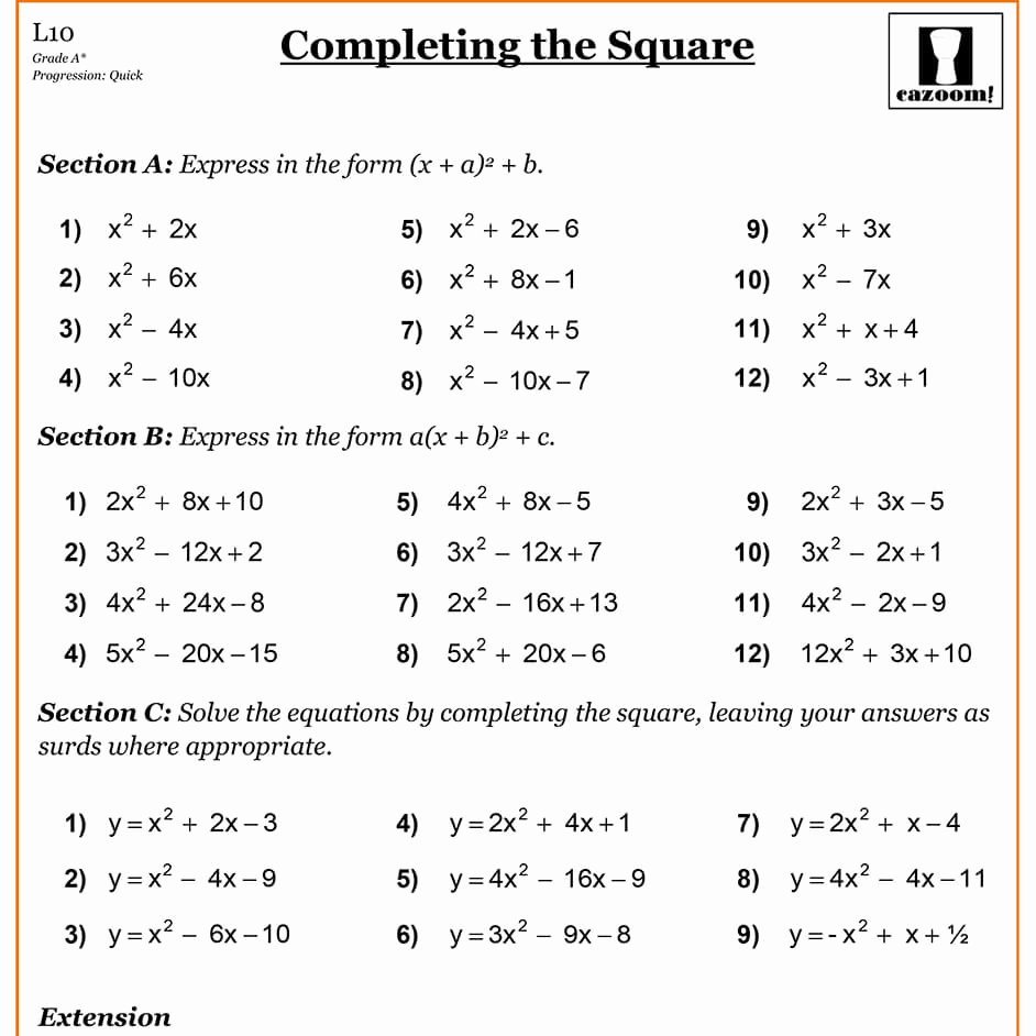 Completing the Square Worksheet Luxury Pleting the Square
