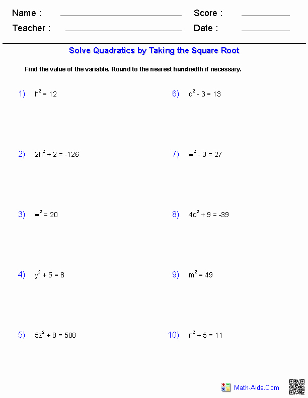 Completing the Square Worksheet New Algebra 1 Worksheets