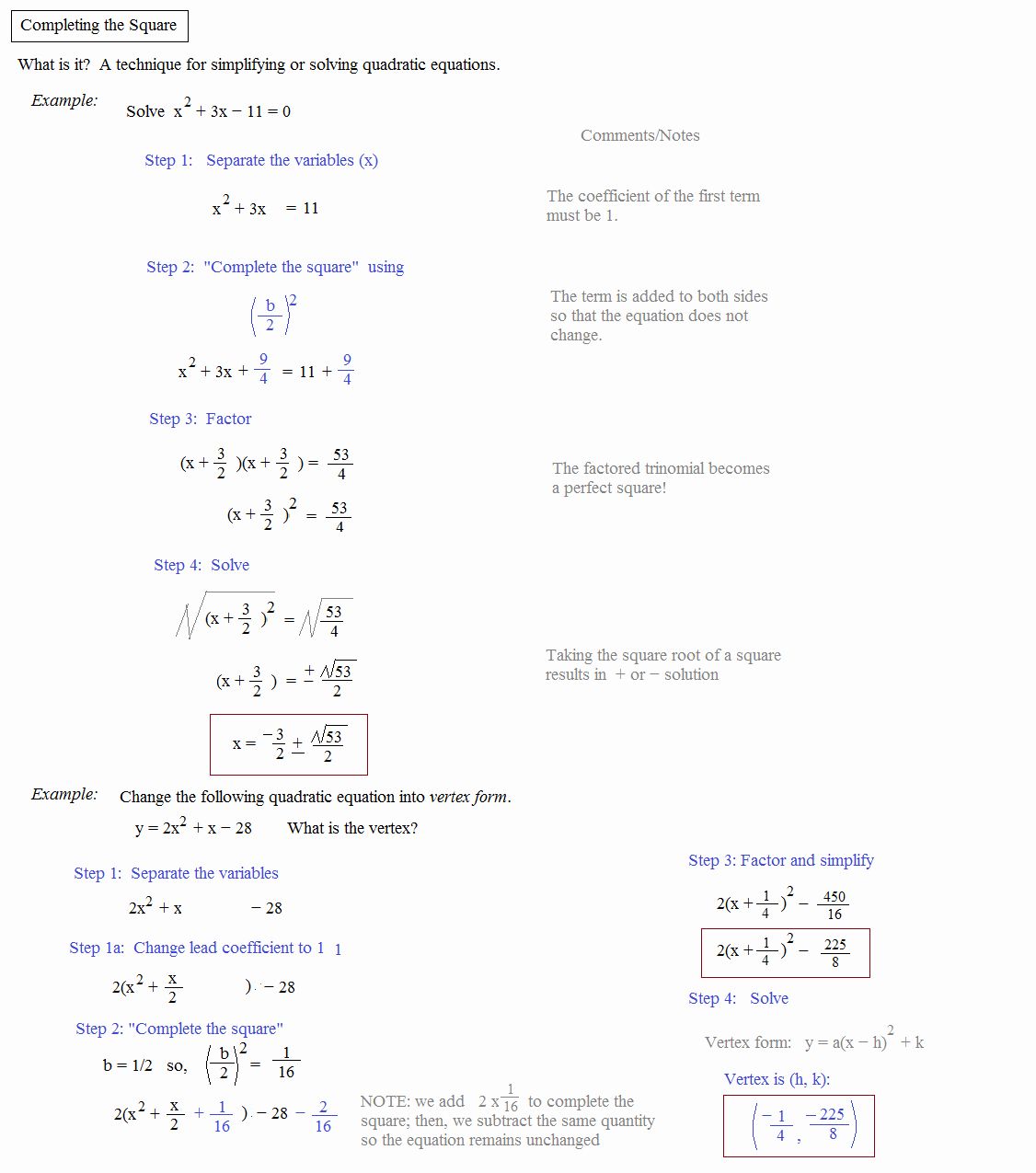 Completing the Square Worksheet New Math Plane Pleting the Square & Quadratic formula