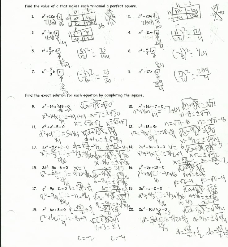 Completing the Square Worksheet New Pleting the Square Worksheet Helping Times