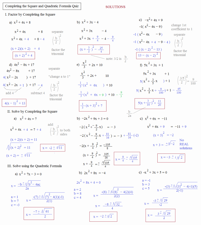 Completing the Square Worksheet Unique Pleting the Square Practice Worksheet with Answers the