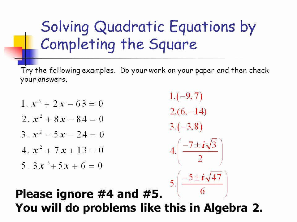 Completing the Square Worksheet Unique Pleting the Square Worksheet