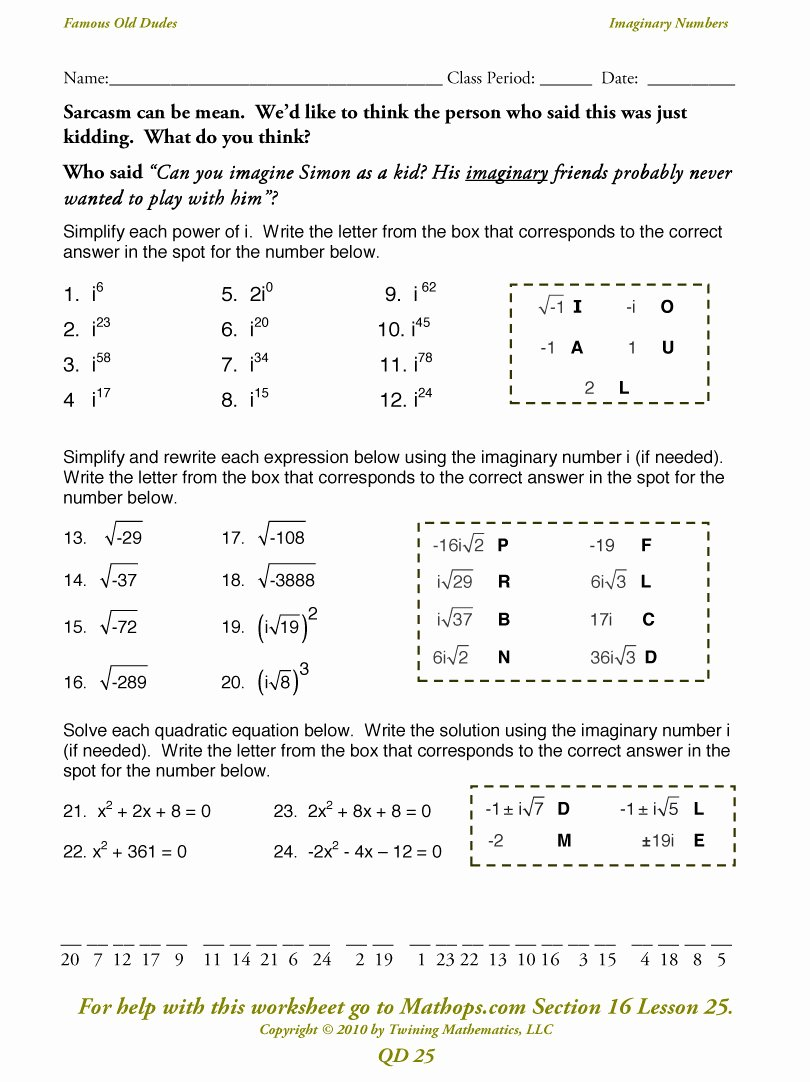 Complex Numbers Worksheet Answers Elegant Qd 23 Imaginary Numbers Mathops