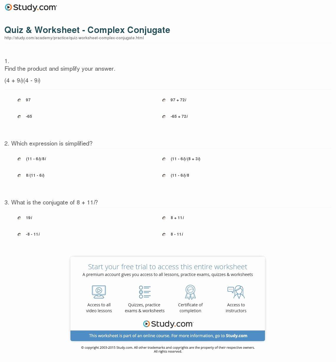 Complex Numbers Worksheet Answers Elegant Quiz & Worksheet Plex Conjugate