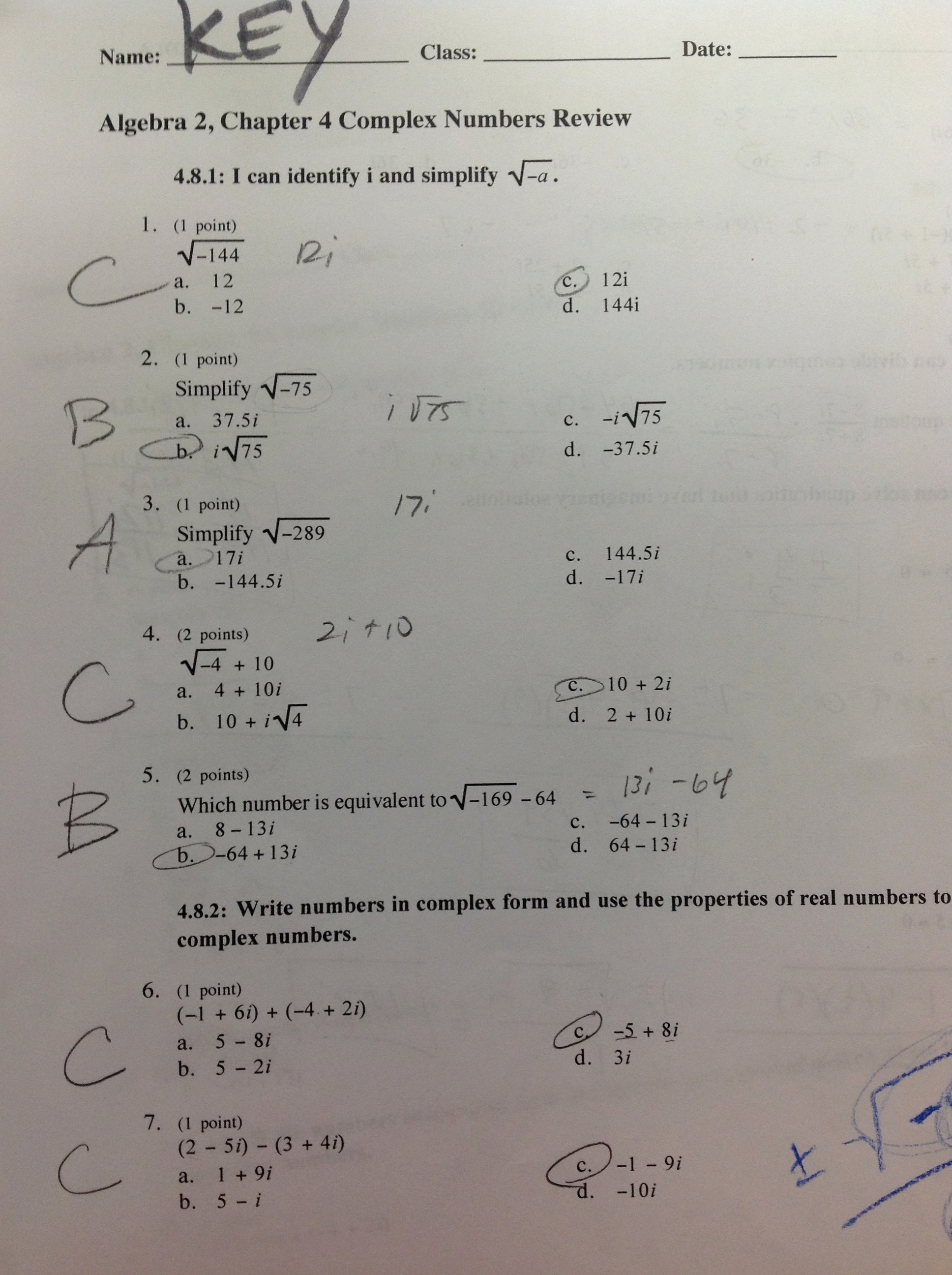 Complex Numbers Worksheet Answers Fresh Algebra 2 Mrs Cousineau S Classes