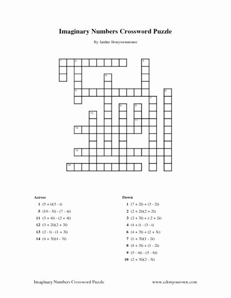 Complex Numbers Worksheet Answers Lovely Imaginary Numbers Crossword Puzzle Worksheet for 10th
