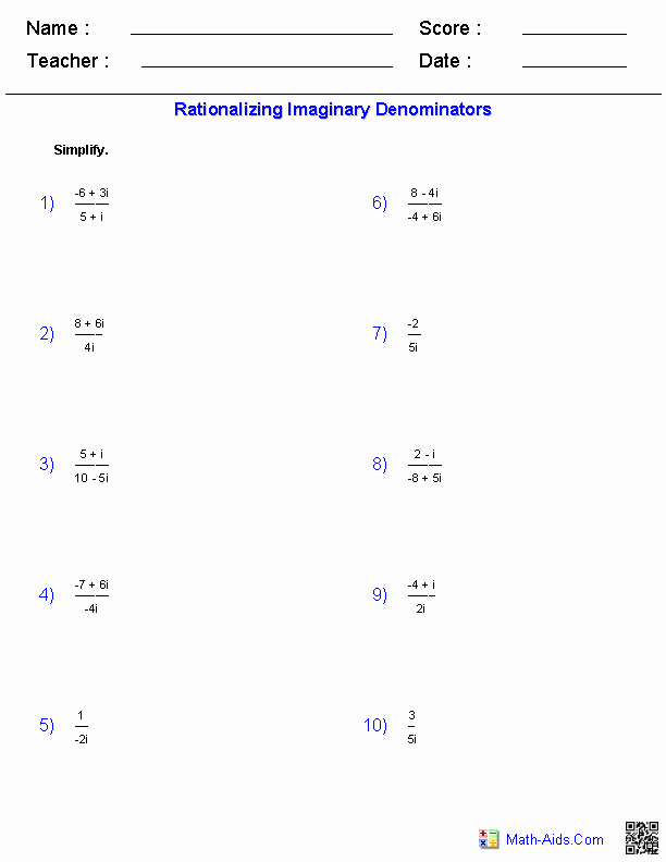 Complex Numbers Worksheet Answers Luxury Algebra 2 Worksheets