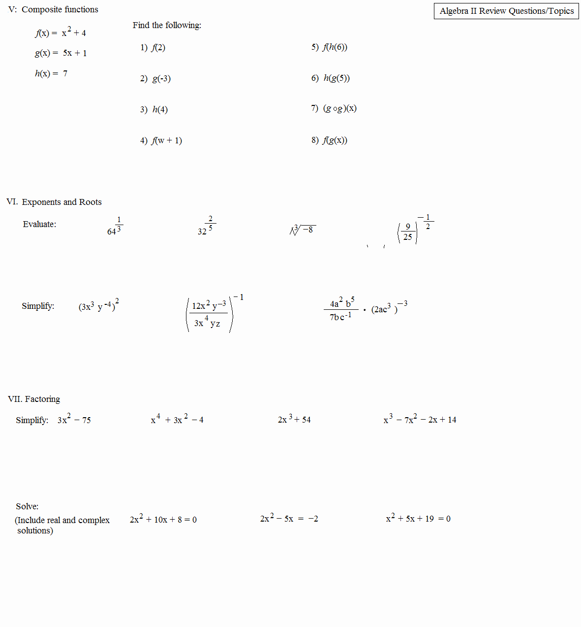 Complex Numbers Worksheet Answers Luxury Math Plane Algebra Ii Review 5 1st Semester Finals Test