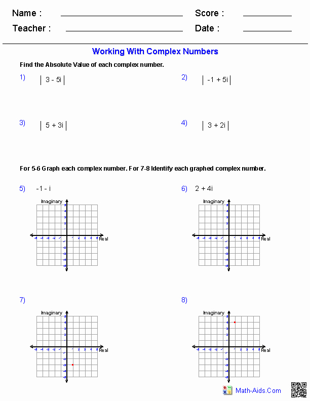 Complex Numbers Worksheet Answers New Algebra 2 Worksheets