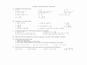 Complex Numbers Worksheet Answers New Plex and Imaginary Numbers 11th 12th Grade Worksheet