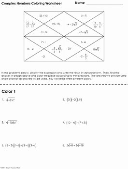 Complex Numbers Worksheet Answers New Plex Numbers Coloring Worksheet by Mrs E Teaches Math