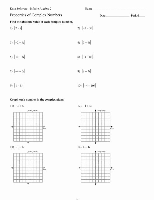 Complex Numbers Worksheet Pdf Best Of Properties Of Plex Numbers Pdf Kuta software