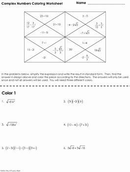Complex Numbers Worksheet Pdf Elegant Plex Numbers Coloring Worksheet by Mrs E Teaches Math