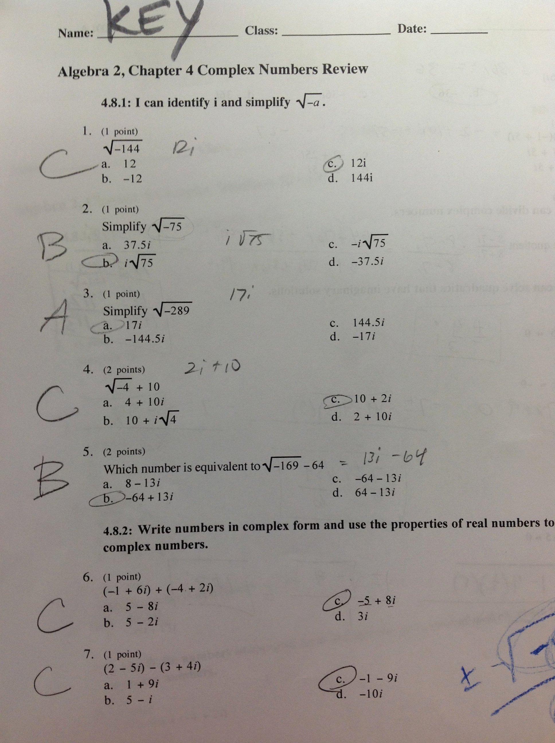 Complex Numbers Worksheet Pdf Fresh Algebra 2 Mrs Cousineau S Classes